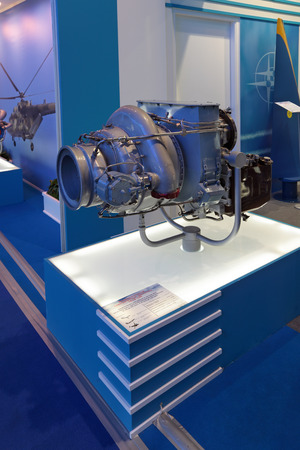 aeroengine: ZHUKOVSKY, RUSSIA - AUG 31, 2013: Auxiliary gas-turbine engine TA18-100 at the International Aviation and Space salon MAKS-2013