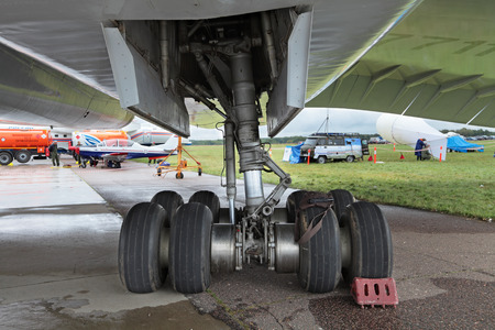supersonic transport: ZHUKOVSKY, RUSSIA - SEP 1, 2013: The landing gear of the plane Tupolev Tu-144 was the first in the world commercial supersonic transport aircraft at the International Aviation and Space salon MAKS-2013