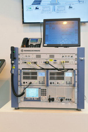 electronical: ZHUKOVSKY, RUSSIA - SEP 01, 2013: The radio equipment of civil and military purpose company ROHDE & SCHWARZ at the International Aviation and Space salon MAKS-2013