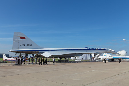 supersonic transport: ZHUKOVSKY, RUSSIA - AUG 28, 2013: Tupolev Tu-144 plane was the first in the world commercial supersonic transport aircraft at the International Aviation and Space salon MAKS-2013 Editorial