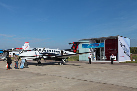 american beech: ZHUKOVSKY, RUSSIA - AUG 28, 2013: The Beechcraft King Air 350i is twin-turboprop aircraft produced by the Beech Aircraft Corporation (USA) at the International Aviation and Space salon MAKS-2013