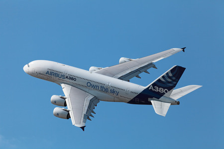 28: ZHUKOVSKY, RUSSIA - AUG 28, 2013: Demonstration flight Airbus A380 - wide-body two-decked passenger airliner at the International Aviation and Space salon MAKS-2013