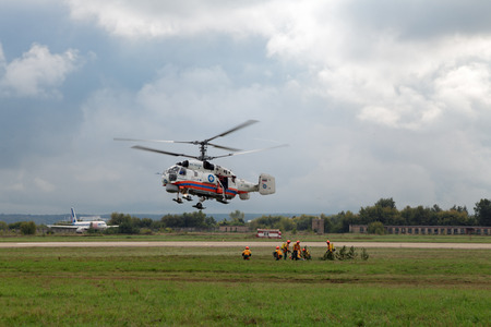 situations: ZHUKOVSKY, RUSSIA - SEP 01, 3013: Air show with participation of the helicopter Kamov Ka-32 Ministry of Emergency Situations at the International Aviation and Space salon MAKS-2013 Editorial