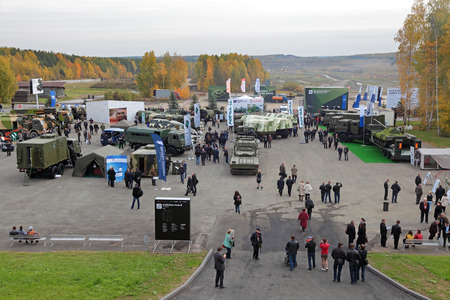 industrially: NIZHNY TAGIL, RUSSIA - SEP 25, 2013: The international exhibition of armament, military equipment and ammunition RUSSIA ARMS EXPO (RAE-2013)