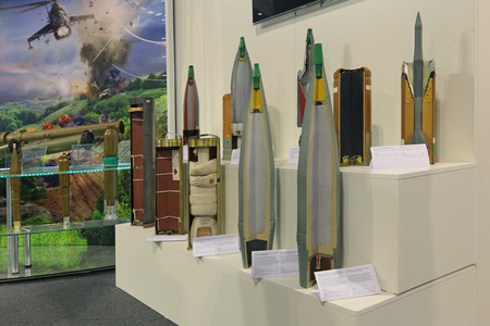 artillery shell: NIZHNY TAGIL, RUSSIA - SEP 26, 2013: The international exhibition of armament, military equipment and ammunition RUSSIA ARMS EXPO (RAE-2013). Samples of artillery shells Editorial