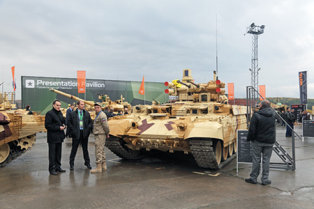 showpiece: NIZHNY TAGIL, RUSSIA - SEP 25, 2013: The international exhibition of armament, military equipment and ammunition RUSSIA ARMS EXPO (RAE-2013). The BMPT Ramka - Russian Tank Support Fighting Vehicle Terminator