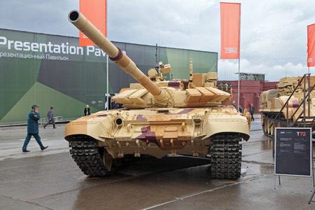 armament: NIZHNY TAGIL, RUSSIA - SEP 26, 2013: The international exhibition of armament, military equipment and ammunition RUSSIA ARMS EXPO (RAE-2013). The T-72 is a Soviet second-generation main battle tank