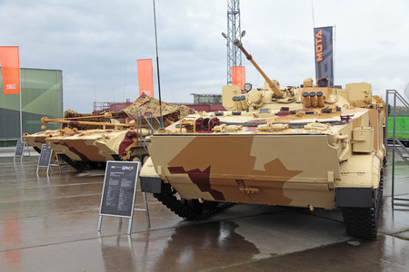 armament: NIZHNY TAGIL, RUSSIA - SEP 26, 2013: The international exhibition of armament, military equipment and ammunition RUSSIA ARMS EXPO (RAE-2013). Combat reconnaissance vehicle BRM3k Editorial