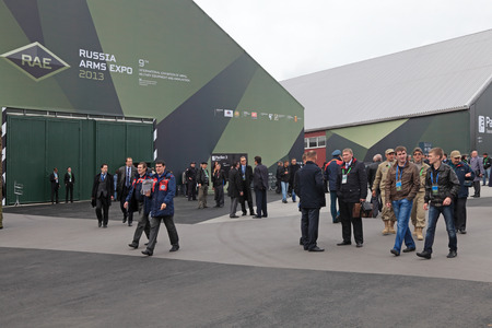 industrially: NIZHNY TAGIL, RUSSIA - SEP 26, 2013: The international exhibition of armament, military equipment and ammunition RUSSIA ARMS EXPO (RAE-2013)