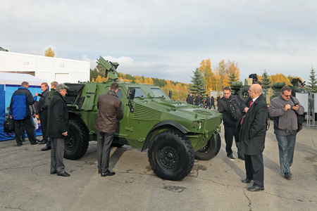 industrially: NIZHNY TAGIL, RUSSIA - SEP 26, 2013: The international exhibition of armament, military equipment and ammunition RUSSIA ARMS EXPO (RAE-2013). Light armoured vehicle ASTAIS-VBL produced by the French company Panhard General Defense