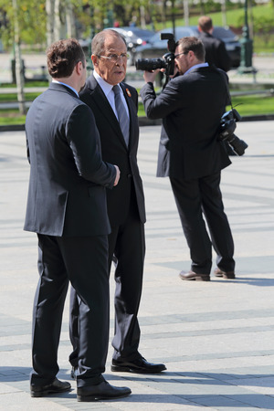 minister of war: MOSCOW, RUSSIA - MAY 8, 2014: Minister of foreign Affairs of the Russian Federation Sergey Lavrov at the ceremony of laying flowers to the Tomb of the Unknown Soldier. Festive events dedicated to the 69th Anniversary of Victory Day (WWII)