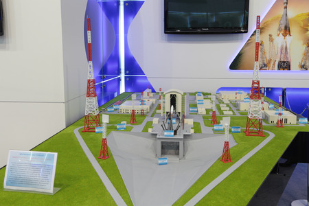 forthcoming: ZHUKOVSKY, RUSSIA - AUG 29: The layout of the launch complex for the carrier rocket Soyuz-2 on the new Russian cosmodrome Vostochny, under construction in the Amur region at the International Aviation and Space salon MAKS-2013
