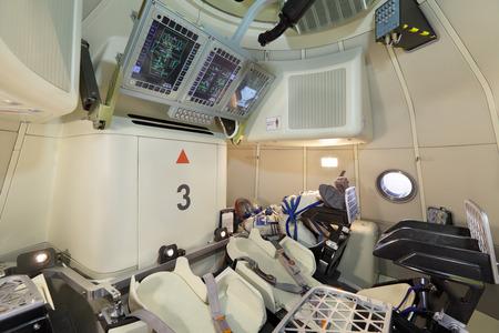 Joukovski, RUSSIE - 29 août: stand de SP Korolev Rocket and Space Corporation Energia. Nouveau véhicule de transport d'équipage de génération à l'aviation internationale et de l'espace salon MAKS-2013.