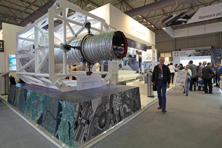 exploratory: ZHUKOVSKY, RUSSIA - AUG 29, 2013: Stand of Russian Federal Space Agency. Optical-electronic equipment for remote sounding of the earth