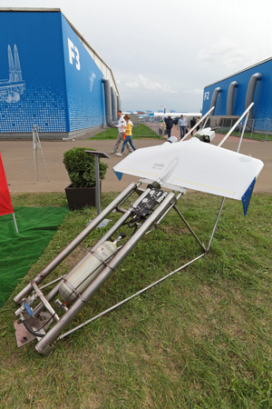 long range: ZHUKOVSKY, RUSSIA - AUG 29, 2013: The unmanned aircrafts long range ZALA 421-16 at the International Aviation and Space salon MAKS-2013 Editorial