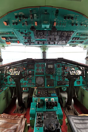 supersonic transport: ZHUKOVSKY, RUSSIA - SEP 1, 2013: The cabin of the plane Tupolev Tu-144 was the first in the world commercial supersonic transport aircraft at the International Aviation and Space salon MAKS-2013