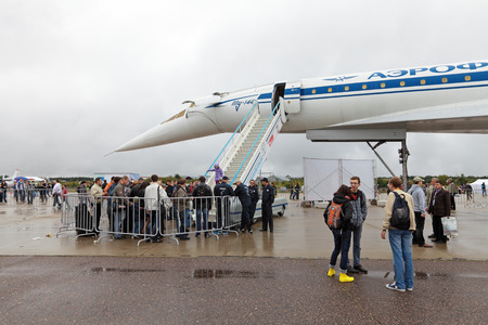 supersonic transport: ZHUKOVSKY, RUSSIA - SEP 01, 2013: Tupolev Tu-144 plane was the first in the world commercial supersonic transport aircraft at the International Aviation and Space salon MAKS-2013