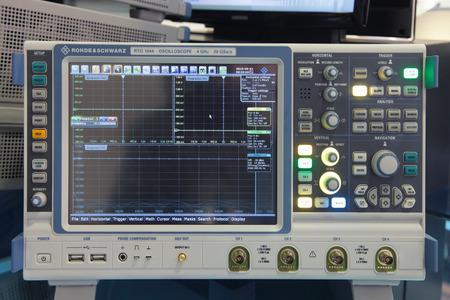 international monitoring: ZHUKOVSKY, RUSSIA - SEP 01, 2013: The oscilloscope ROHDE & SCHWARZ RTO 1044 at the International Aviation and Space salon MAKS-2013