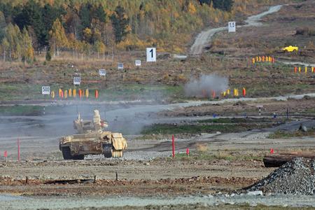 """Nizhny Tagil, Russland - 25. September 2013: Die internationale Fachmesse für Bewaffnung, militärischer Ausrüstung und Munition RUSSLAND ARMS EXPO (RAE-2013). Die BMPT Ramka - Russische Panzerunterstützung Kampffahrzeug """"Terminator"""""""