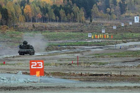 self testing: NIZHNY TAGIL, RUSSIA - SEP 25, 2013: The international exhibition of armament, military equipment and ammunition RUSSIA ARMS EXPO (RAE-2013). Antiaircraft self-propelled installation ZSU-23-4 Shilka Editorial