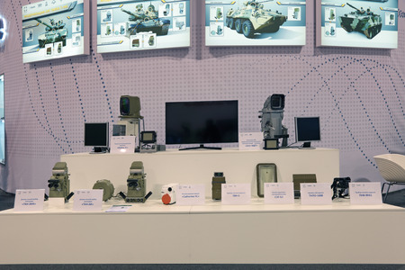 sighting: NIZHNY TAGIL, RUSSIA - SEP 26, 2013: The international exhibition of armament, military equipment and ammunition RUSSIA ARMS EXPO (RAE-2013). Night, day, thermal observation devices for armored vehicles Editorial
