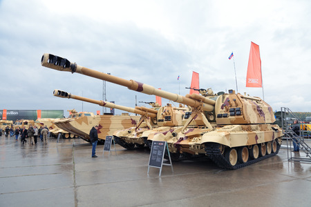 industrially: NIZHNY TAGIL, RUSSIA - SEP 26, 2013: The international exhibition of armament, military equipment and ammunition RUSSIA ARMS EXPO (RAE-2013). Russian heavy self-propelled 152 mm howitzer 2S19 Msta-S