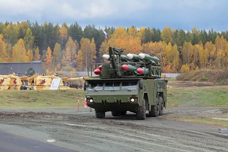 armament: NIZHNY TAGIL, RUSSIA - SEP 26, 2013: Buk missile system (air defense complex) at the international exhibition of armament, military equipment and ammunition RUSSIA ARMS EXPO (RAE-2013) Editorial