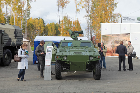 produced: NIZHNY TAGIL, RUSSIA - SEP 25, 2013: The international exhibition of armament, military equipment and ammunition RUSSIA ARMS EXPO (RAE-2013). Light armoured vehicle ASTAIS-VBL produced by the French company Panhard General Defense Editorial