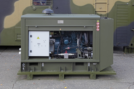 showpiece: NIZHNY TAGIL, RUSSIA - SEP 26, 2013: The international exhibition of armament, military equipment and ammunition RUSSIA ARMS EXPO (RAE-2013). Diesel generator set