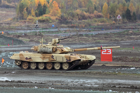armament: NIZHNY TAGIL, RUSSIA - SEP 27, 2013: The international exhibition of armament, military equipment and ammunition RUSSIA ARMS EXPO (RAE-2013). The T-72 is a Soviet second-generation main battle tank