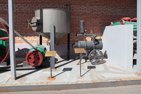 soak: MOSCOW, RUSSIA, OCHAKOVO BREWERY - JUN 13: The exposition of retro-equipment for brewing. Old vessel to soak barley and mobile cooling system beer cellar