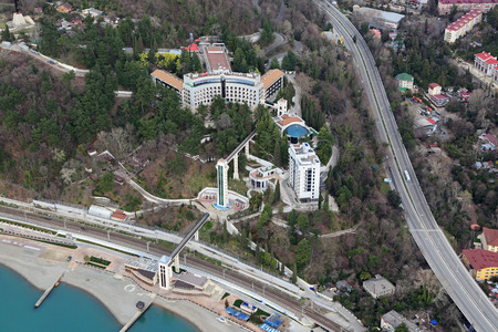 prominent: SOCHI, KHOSTA, RUSSIA - MAR 02, 2014: Cityscape view from above, a modern sanatorium Cape prominent Russian Railways Editorial