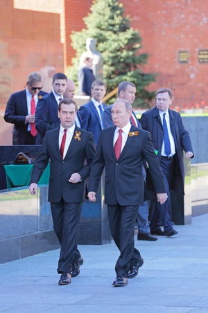 minister of war: MOSCOW, RUSSIA - MAY 09, 2014: Celebration of the 69th anniversary of the Victory Day (WWII) on Red Square. President Vladimir Putin and Prime Minister Dmitry Medvedev came to the ceremony Editorial