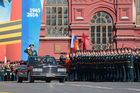 MOSCOW, RUSSIA - MAY 09, 2014: Celebration of the 69th anniversary of the Victory Day (WWII) on Red Square. The parade Colonel-General Oleg Salyukov - chief of Land forces of Russia