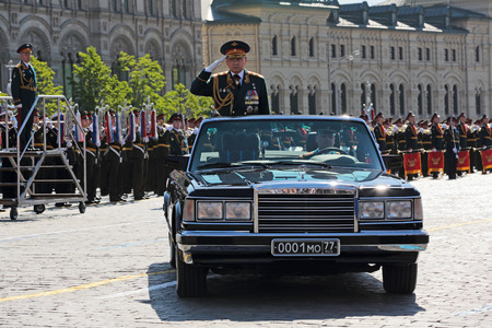 minister of war: MOSCOW, RUSSIA - MAY 09, 2014: Celebration of the 69th anniversary of the Victory Day (WWII) on Red Square. The parade will be attended by Minister of defence of the Russian Federation Sergey Shoygu Editorial