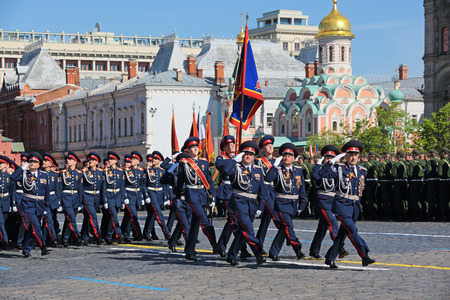cossack parade: MOSCOW RUSSIA - MAY, 09, 2014: Celebration of the 69th anniversary of the Victory Day (WWII). Solemn marching of soldiers in Red Square. Troops of the Sewellia the don Cossack army