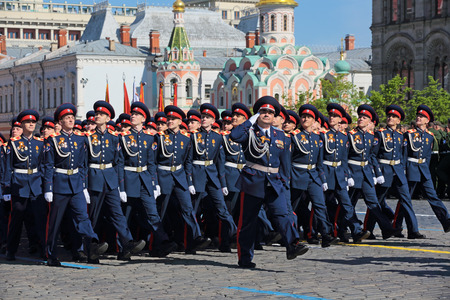cossack: MOSCOW RUSSIA — MAY, 09, 2014: Celebration of the 69th anniversary of the Victory Day (WWII). Solemn marching of soldiers in Red Square. Troops of the Sewellia the don Cossack army