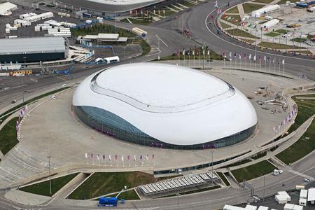 stadia: SOCHI, ADLER, RUSSIA - MAR 02, 2014: Bolshoy Ice Dome at Olympic Park in Adlersky District, Krasnodar Krai - venue for the 2014 winter Olympics, top view Editorial