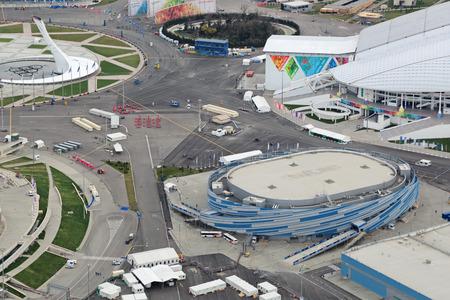 stadia: SOCHI, ADLER, RUSSIA - MAR 02, 2014: Shayba Arena at Olympic Park in Adlersky District, Krasnodar Krai - venue for the 2014 winter Olympics, top view