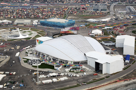 venue: SOCHI, ADLER, RUSSIA - MAR 02, 2014: Stadium Fisht at Olympic Park in Adlersky District, Krasnodar Krai - venue for the 2014 winter Olympics, top view