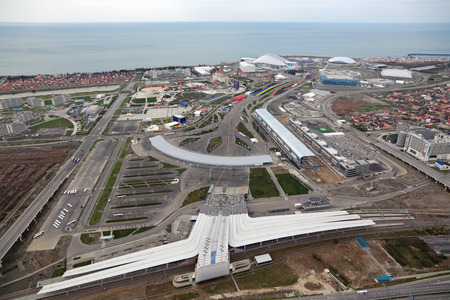 stadia: SOCHI, ADLER, RUSSIA - MAR 02, 2014: Olympic Park and train station in Adlersky District, Krasnodar Krai - venue for the 2014 winter Olympics, top view Editorial