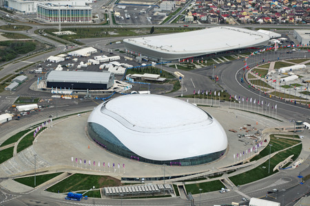 stadia: SOCHI, ADLER, RUSSIA - MAR 02, 2014: Bolshoy Ice Dome and Adler Arena Skating Center at Olympic Park in Adlersky District, Krasnodar Krai - venue for the 2014 winter Olympics, top view