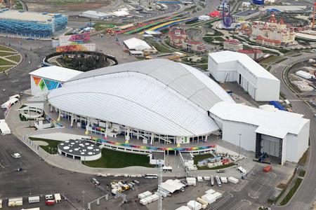 fisht: SOCHI, ADLER, RUSSIA - MAR 02, 2014: Stadium Fisht at Olympic Park in Adlersky District, Krasnodar Krai - venue for the 2014 winter Olympics, top view
