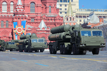 propelled: MOSCOW, RUSSIA - MAY 09, 2014: Celebration of the 69th anniversary of the Victory Day (WWII). Solemn passage of military hardware on Red Square. The S-400 Triumf (SA-21 Growler) Russian anti-aircraft missile system large-and medium-range Editorial