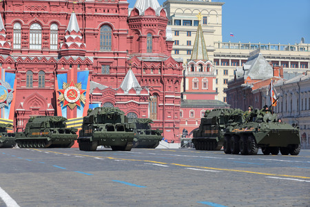 MOSCOW, RUSSIA - MAY 09, 2014: Celebration of the 69th anniversary of the Victory Day (WWII). Solemn passage of military hardware on Red Square. Tor missile system (SA-15 Gauntlet)