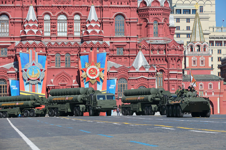 MOSCOW, RUSSIA - MAY 09, 2014: Celebration of the 69th anniversary of the Victory Day (WWII). Solemn passage of military hardware on Red Square. The S-400 Triumf (SA-21 Growler) Russian anti-aircraft missile system large-and medium-range