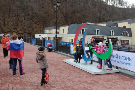 olympiad: SOCHI, RUSSIA - MAR 05, 2014: The emblem of the Paralympic games in ski resort Krasnaya Polyana, Rosa Khutor - venue for the 2014 winter Olympics