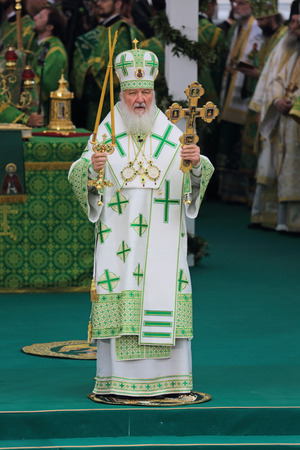 rus: MOSCOW REGION, SERGIYEV POSAD - JUL 18: Kirill (Vladimir Mikhailovich Gundyayev), Patriarch of Moscow and all Rus at the ceremony of celebration of the 700th anniversary of the birthday of St. Sergius of Radonezh