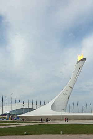 stadia: SOCHI, RUSSIA - MAR 8, 2014: Burning Paralympic flame at the Olympic Park, the Olympic winter games 2014