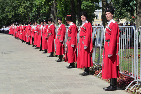 cossacks: MOSCOW REGION, SERGIYEV POSAD, RUSSIA - JUL 18, 2014: Celebration of the 700th anniversary of the birthday of St. Sergius of Radonezh. The Cossacks are involved in providing security and law and order
